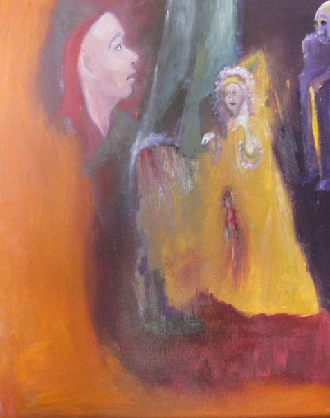 Oil painting of man seeing vision of lady before mirror