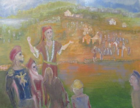 Oil painting with carnival scene impresario's spiel in progress