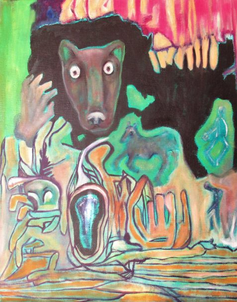 Oil painting of staring creature severed hand and horse