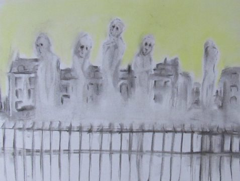 Charcoal and pastel drawing of wraiths rising between mansard-roofed buildings and iron fence