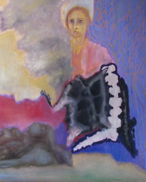 Oil painting of woman feeling resentful and wearing bone-like garment