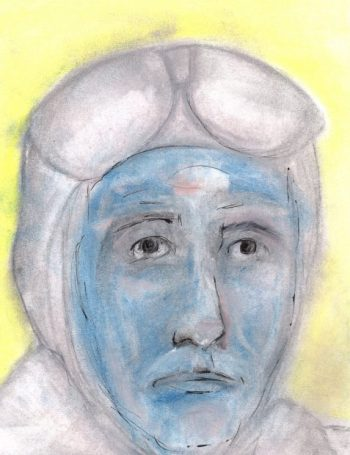 Tattersby character in aviator helmet and goggles art for poem Romans