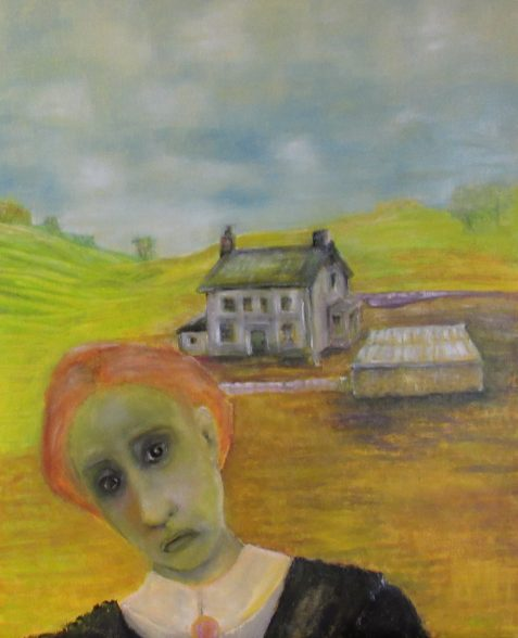 Oil painting of green-faced woman before farmhouse