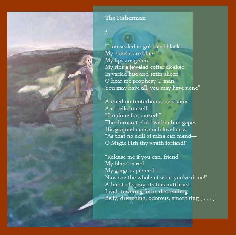 Mystery Plays text and image of fisherman in boat poem The Fisherman