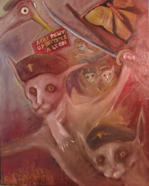 Oil painting of cats in military dress wielding weapons