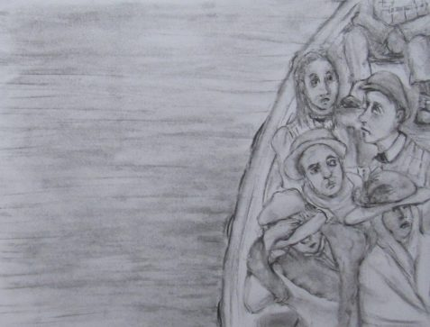 Charcoal drawing of Titanic survivors in lifeboat