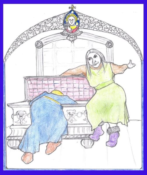 Future Projects illustration from The History of the Franks woman closing trunk on daughter