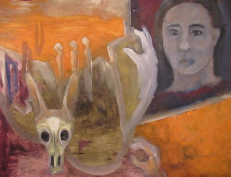 Oil painting of southwestern landscape woman's face and Jackalope skull