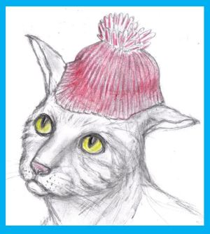 Cartoon cat wearing stocking cap