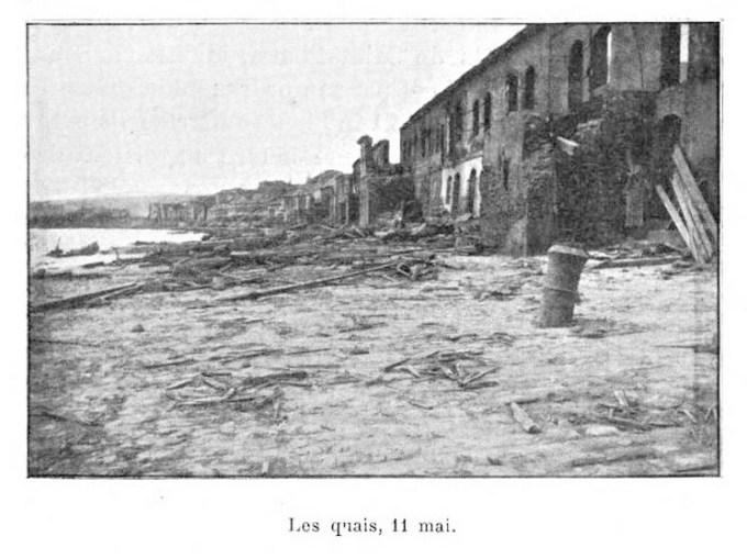 1902 photo of Saint-Pierre waterfront destruction