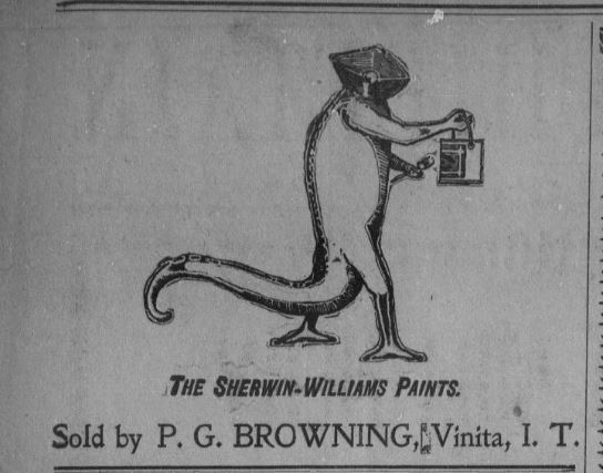 Newspaper clipping of odd monster used to advertise paint