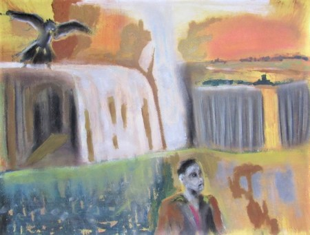 Oil painting of man in strange landscape stalked by bird