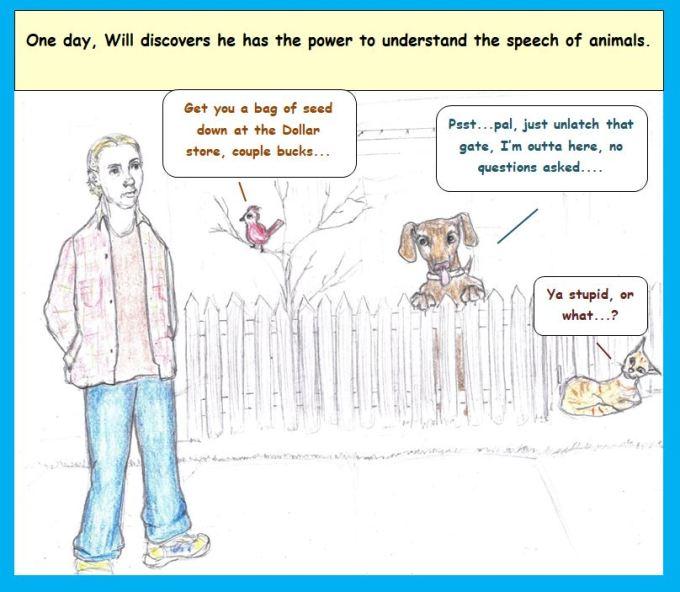 Cartoon of man who hears animals talk