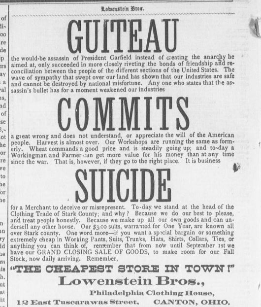 Newspaper clipping 1800s advertising play on Garfield assassin