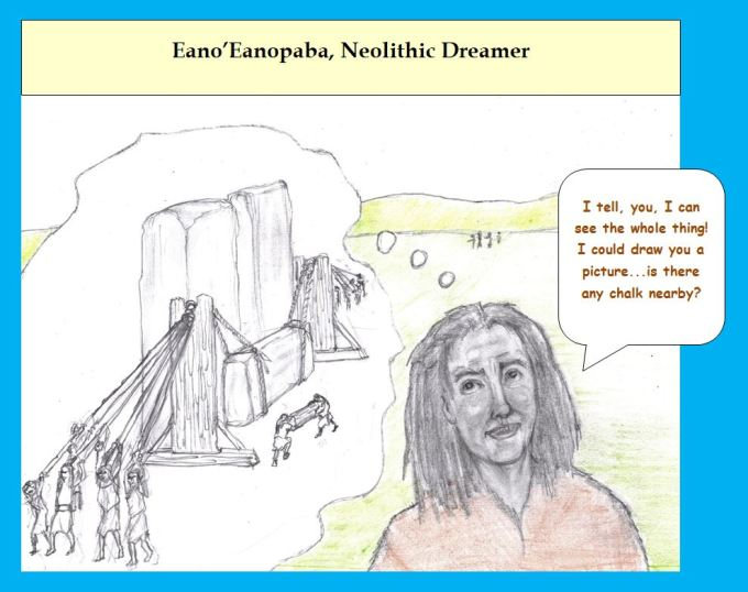 Cartoon Neolithic engineer imagines Stonehenge