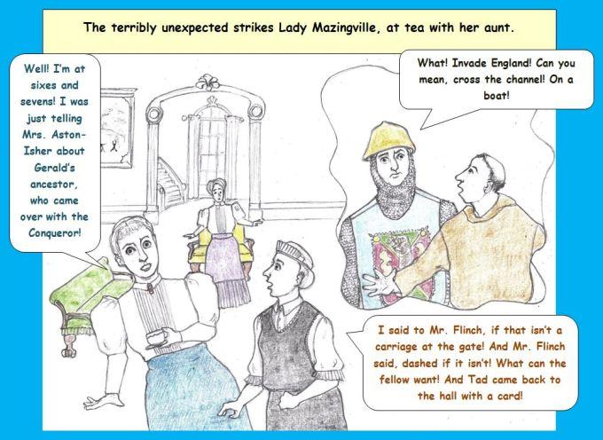 Cartoon English country manor receiving unexpected call