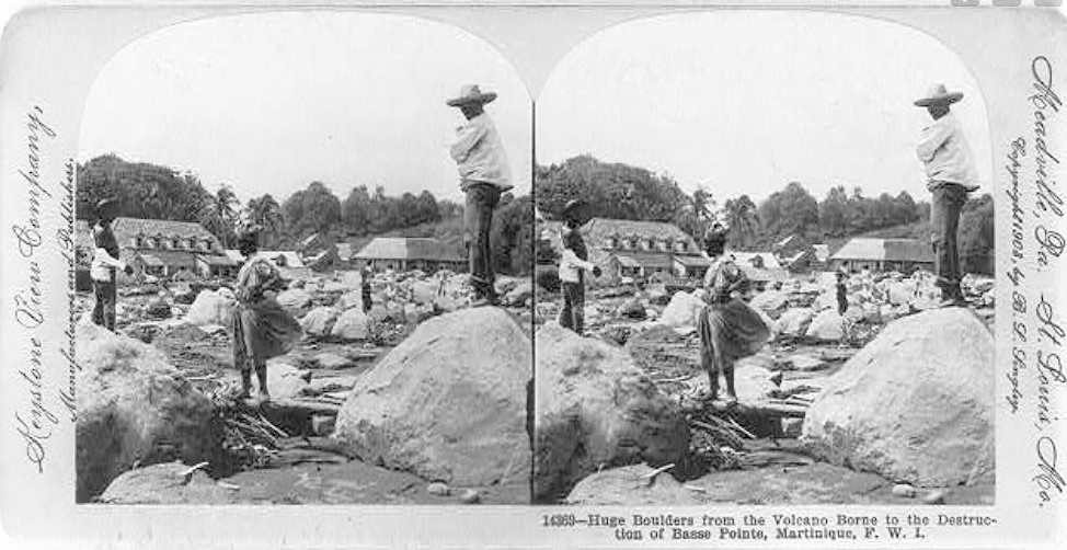 1902 stereoscope photo of boulders from Mount Pelee