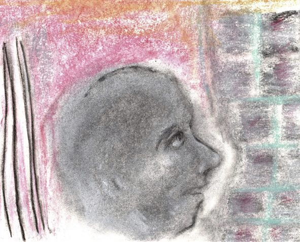 Pastel drawing male head makes indentation in bricks
