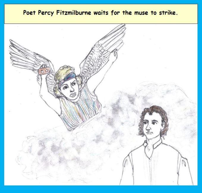 cartoon muse Erato and poet