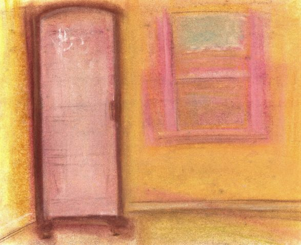 Pastel drawing cabinet in yellow room with ghost