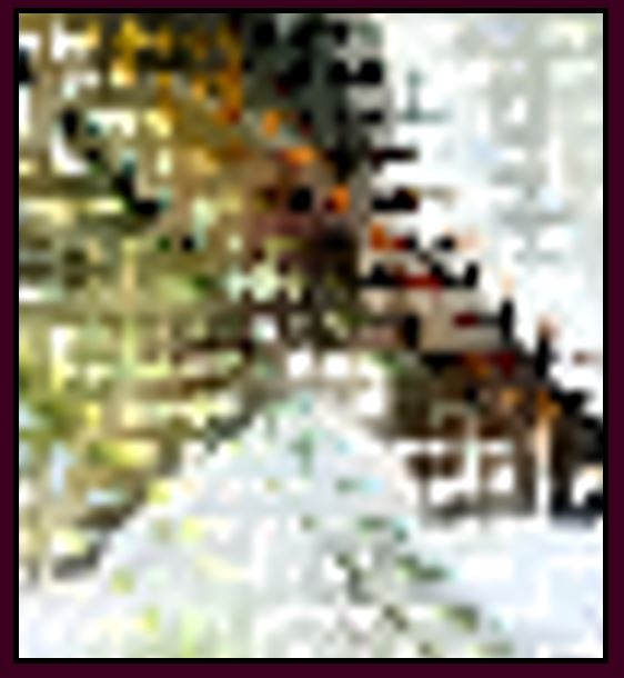 Stylized photo pixelated mountain scene