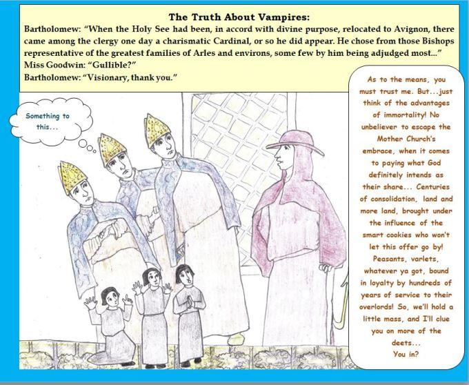 cartoon medieval bishops and shady cardinal