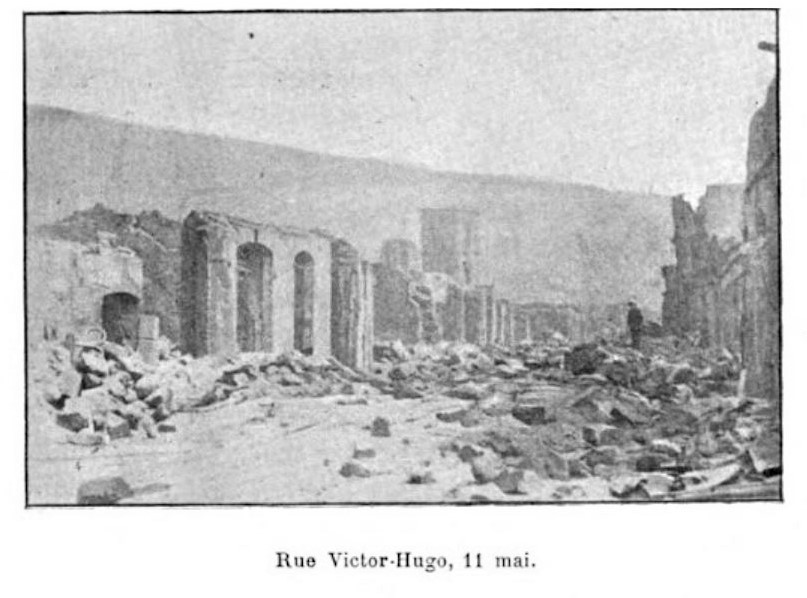 1902 photo of destruction rue Victor Hugo Saint-Pierre, Martinique