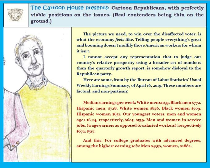 cartoon Republican candidate speaks on issues