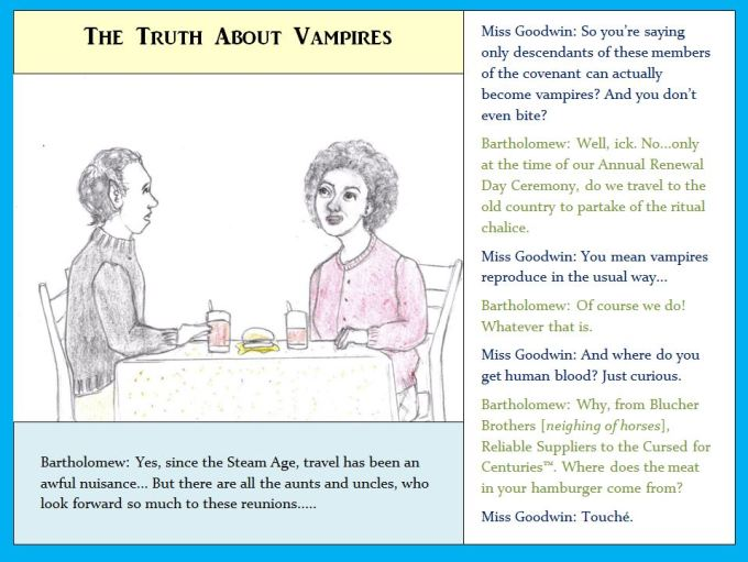 Cartoon of vampire and woman eating lunch