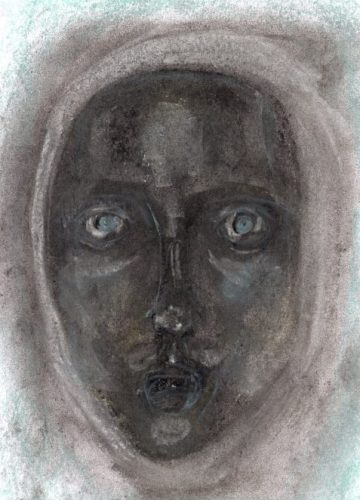 Charcoal and pastel drawing of face in white hood