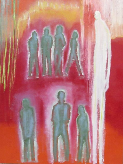 Oil painting of green glowing figures and elongated white figure