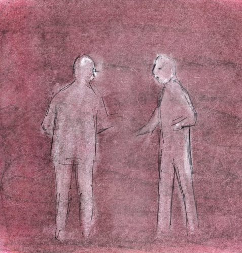 Pastel and ink drawing of two figures talking