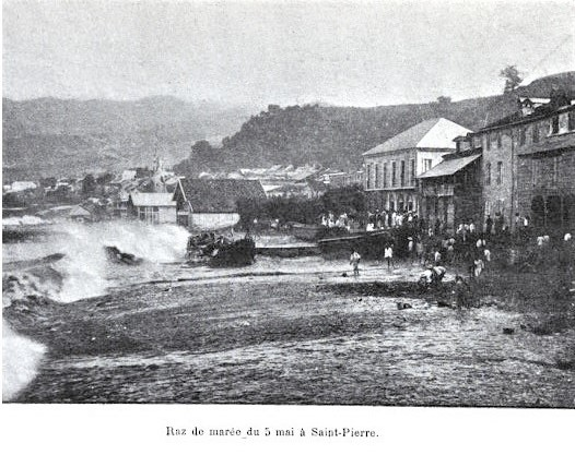 Photo of tidal wave at Saint-PIerre, Martinique 1902