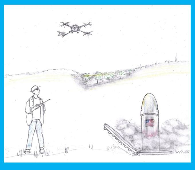 Cartoon of man operating drone and launching missile