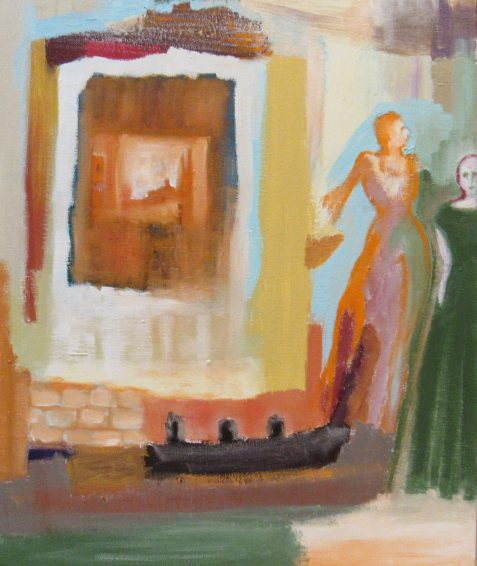 Oil painting of gowned female figures