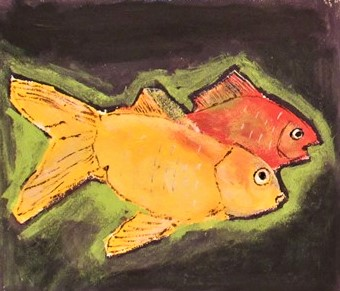 Oil Painting cameo of two goldfish talking
