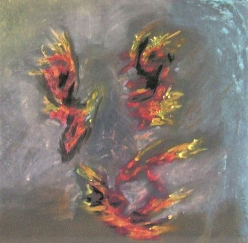 Oil pastel drawing of falling figures