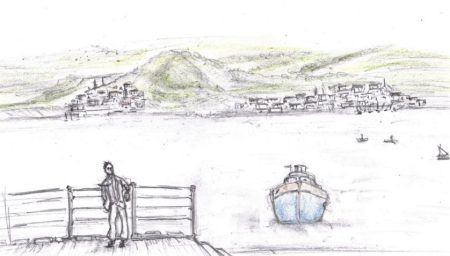 Pencil drawing of man waiting for boat on quay