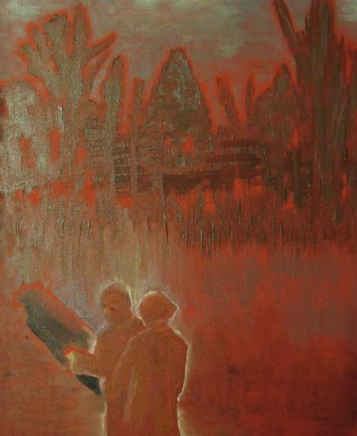 Oil painting of couple against red landscape