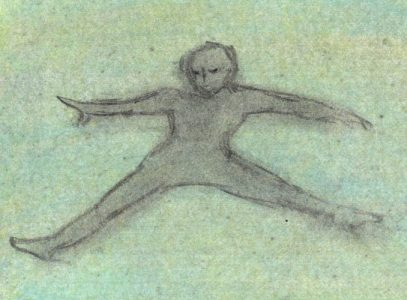 Charcoal and pastel drawing of leaping figure