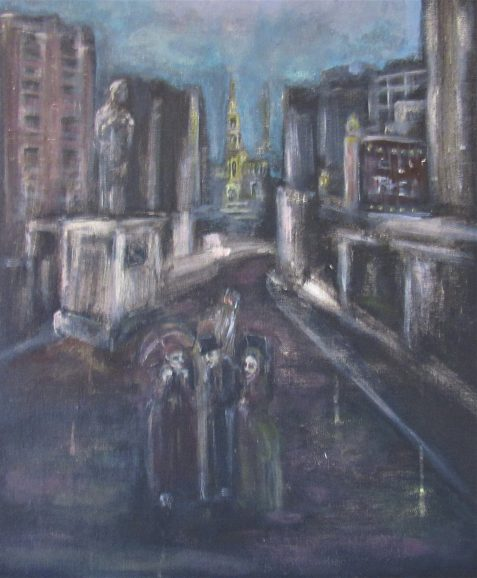 Oil painting of city street with ghost figures