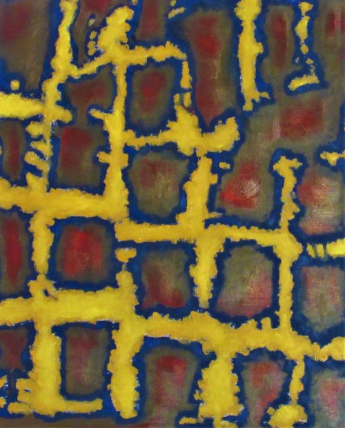 Oil painting of abstract square pattern