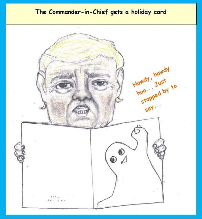 Cartoon of Donald Trump looking at Halloween card
