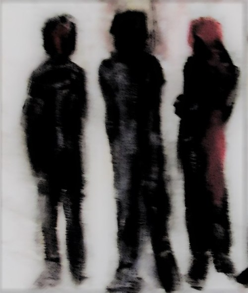 Oil painting cameo of dark figures on off-white ground