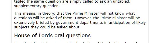 Screenshot from House of Lords website