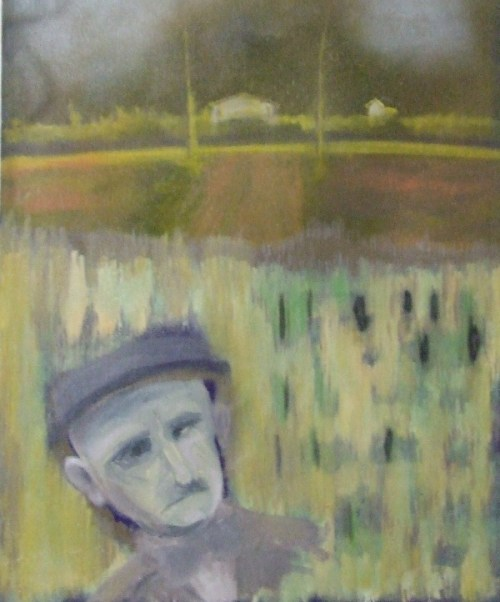 Painting of man in corn field