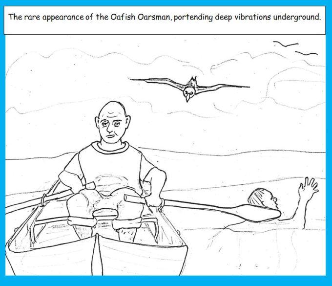Cartoon of man rowing boat hitting swimmer with oar