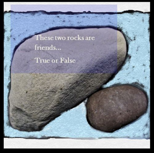Digital painting of rocks with text