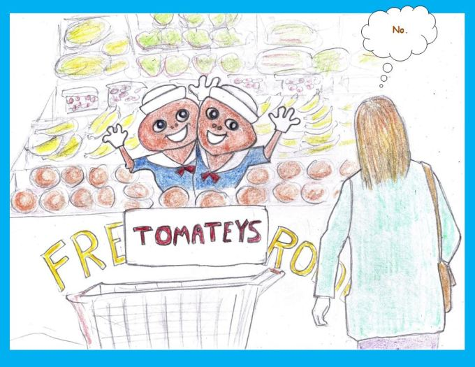 Cartoon of genetically modified tomatoes