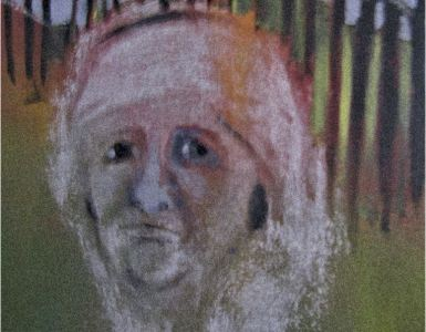 Oil painting cameo of person in headscarf